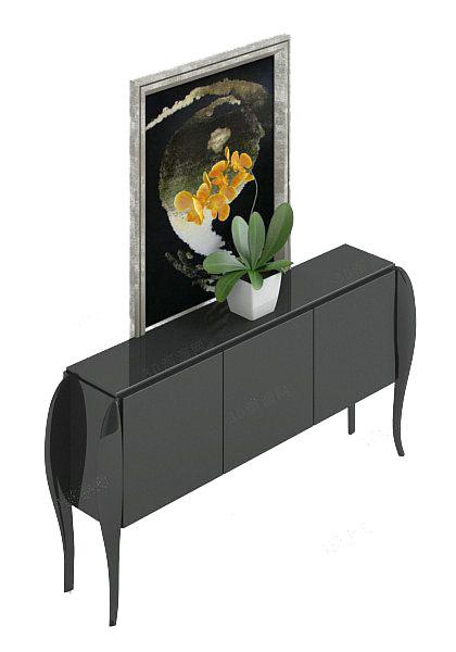 欧式黑色玄关厅柜3d模型免费下载