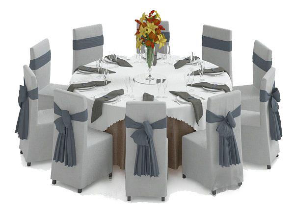酒店餐桌3d模型下载
