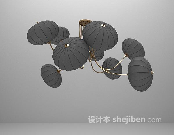 中式灯笼吊灯3d模型免费下载