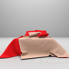 红色床3d模型下载