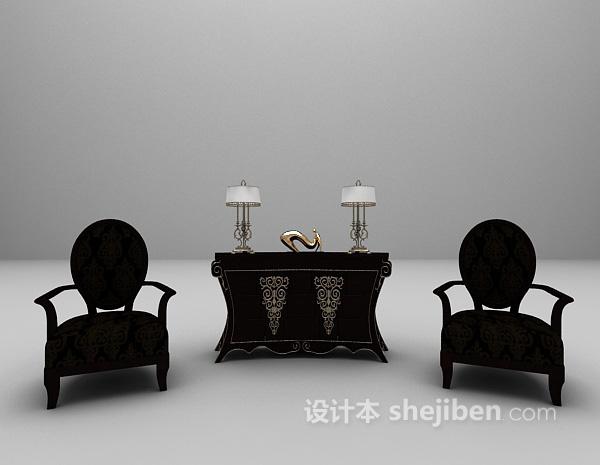 古典风格玄关柜3d模型下载