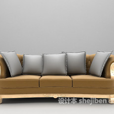 布艺三人沙发3d模型下载