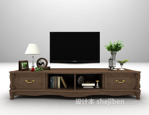 欧式黑色电视柜3d模型下载