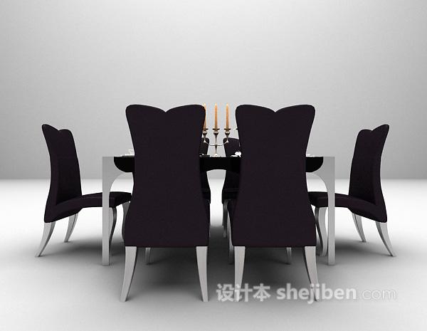 高背椅餐桌3d模型下载