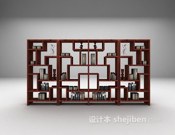 中式书柜展示架组合3d模型下载