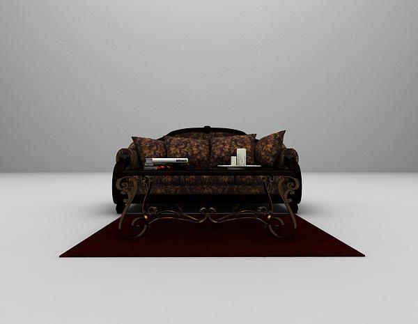 欧式复古沙发3d模型下载