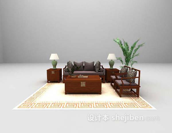 棕色沙发组合3d模型下载