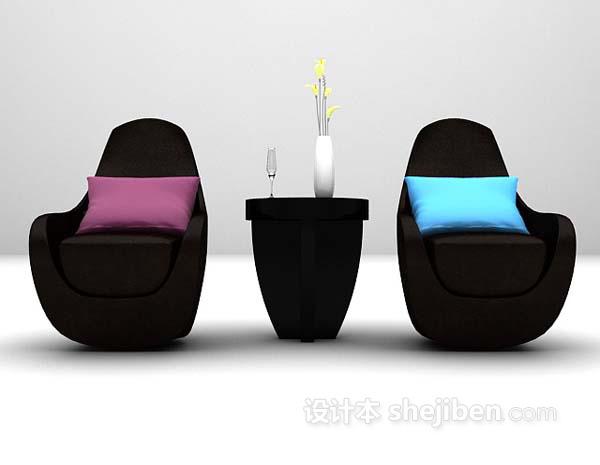 皮质桌椅组合3d模型下载