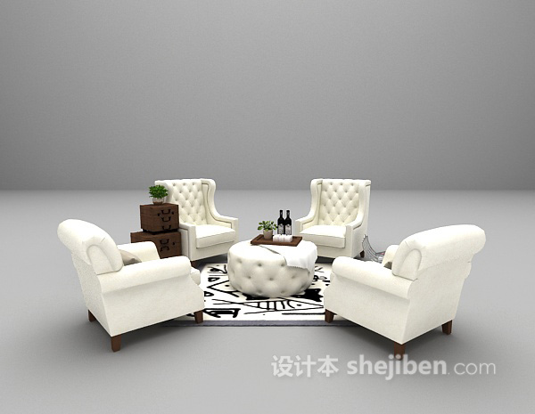 白色欧式沙发组合3d模型下载