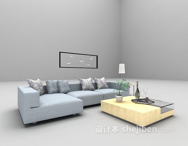 蓝色组合沙发3d模型下载