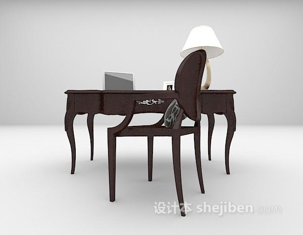 欧式木质书桌3d模型下载