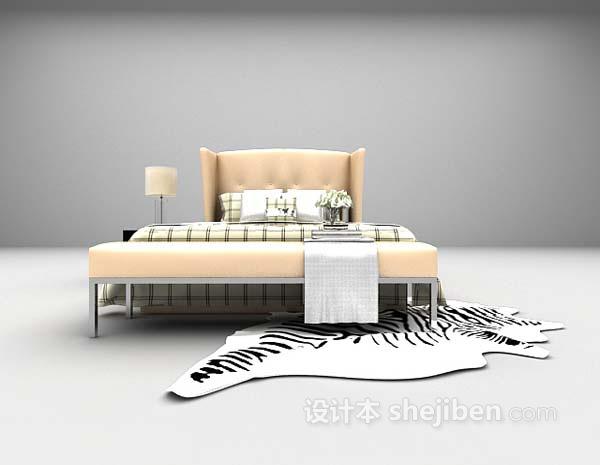 现代卧室床组合3d模型下载