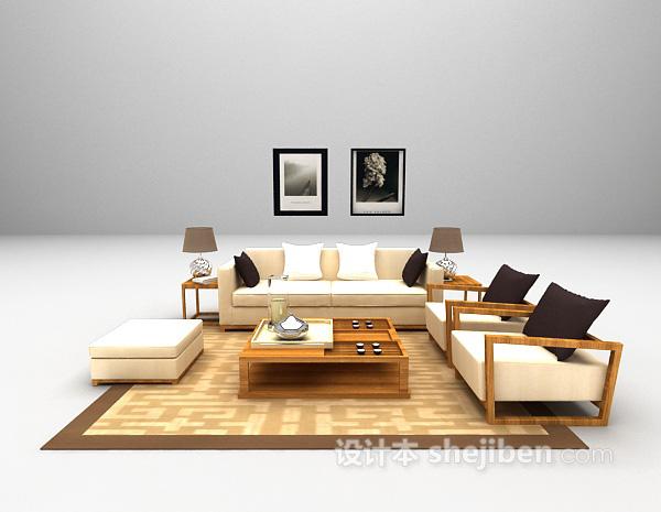 现代客厅沙发3d模型下载