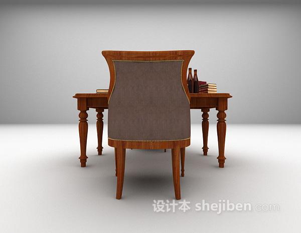 欧式实木书桌椅组合3d模型下载