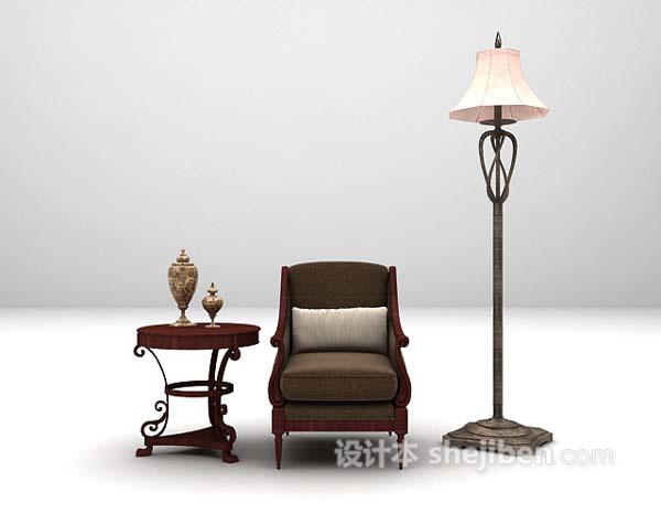 欧式休闲椅3d模型下载