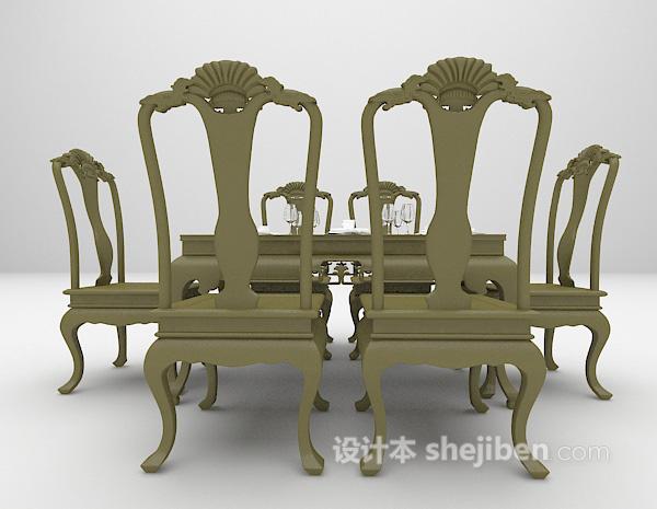 中式风格餐桌模型下载