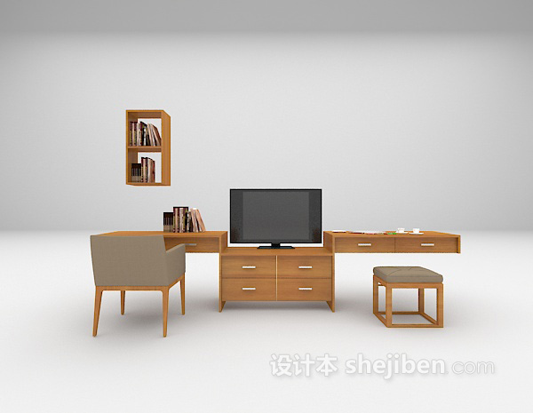 多功能书桌3d模型下载