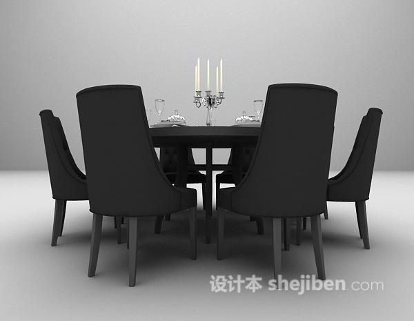 木质圆桌餐桌椅组合3d模型下载