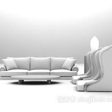 白色高背椅组合沙发3d模型下载