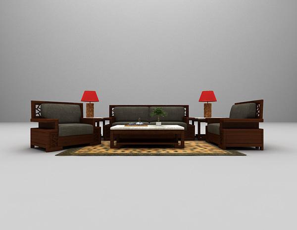 中式家庭沙发3d模型下载