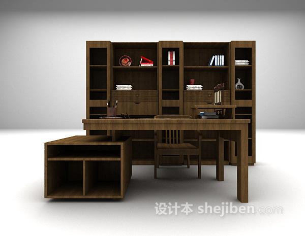 欧式简洁风格书桌3d模型下载