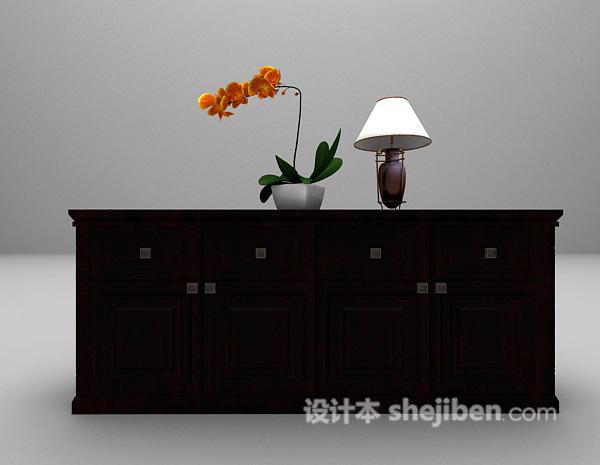 欧式实木玄关柜3d模型下载