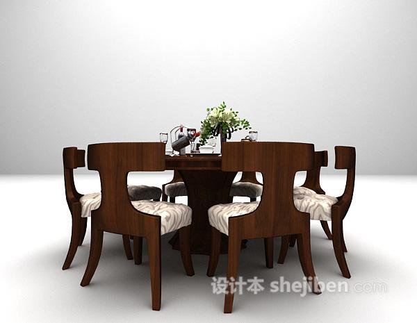 欧式圆形餐桌模型下载