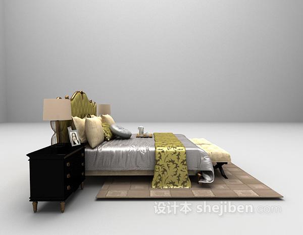 欧式风床3d模型下载
