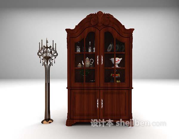 欧式木质展示柜3d模型下载