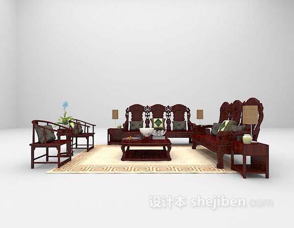 家庭组合沙发3d模型下载