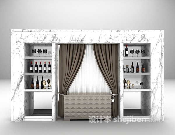 石材酒柜3d模型下载