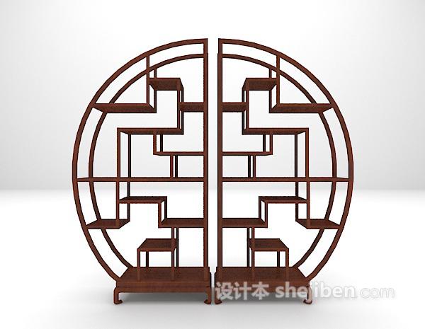 中式圆形博古架3d模型下载
