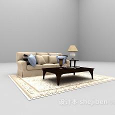 浅色三人沙发3d模型下载