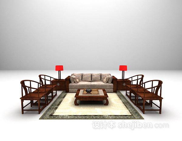 中式组合沙发模型下载