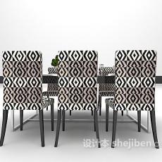 黑色大理石餐桌3d模型下载