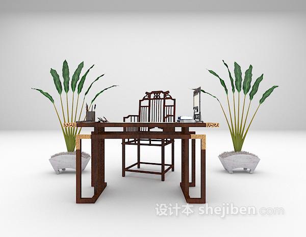中式书桌组合3d模型下载