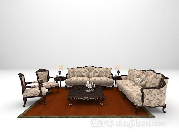 欧式风格组合沙发3d模型免费下载