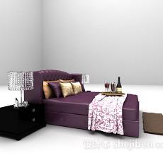 紫色双人床具3d模型下载