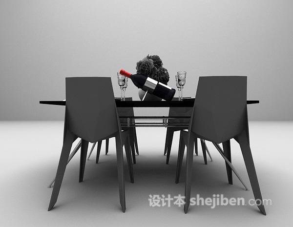 木质餐桌3d模型下载