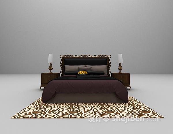 欧式复古风格双人床3d模型下载