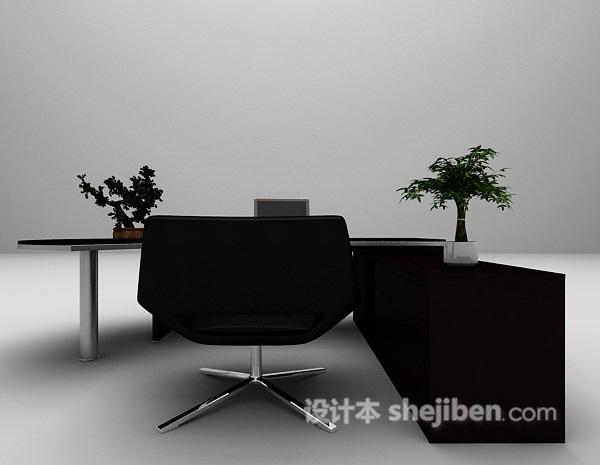 2015棕色办公桌3d模型下载