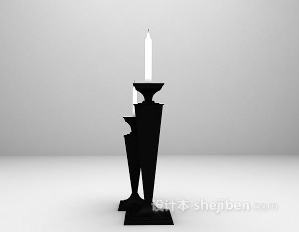 黑色烛台灯3d模型下载