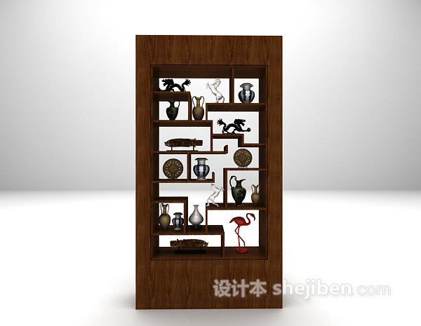木质展示柜3d模型下载