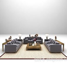 现代浅紫色组合沙发3d模型下载