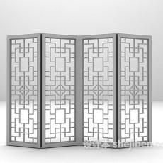 红木屏风3d模型下载