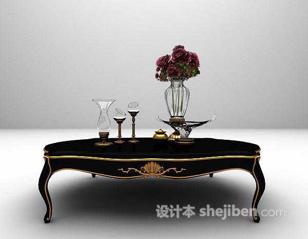 黑色欧式茶几3d模型下载