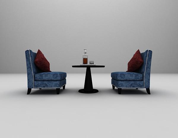 蓝色单人沙发3d模型下载