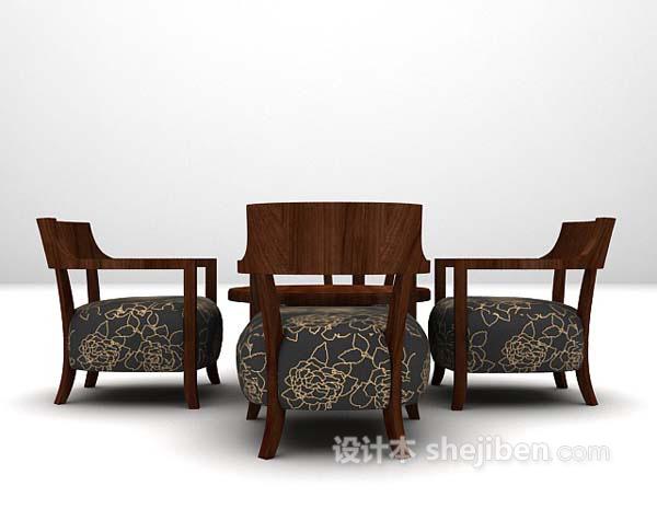 欧式黑色桌椅组合3d模型下载