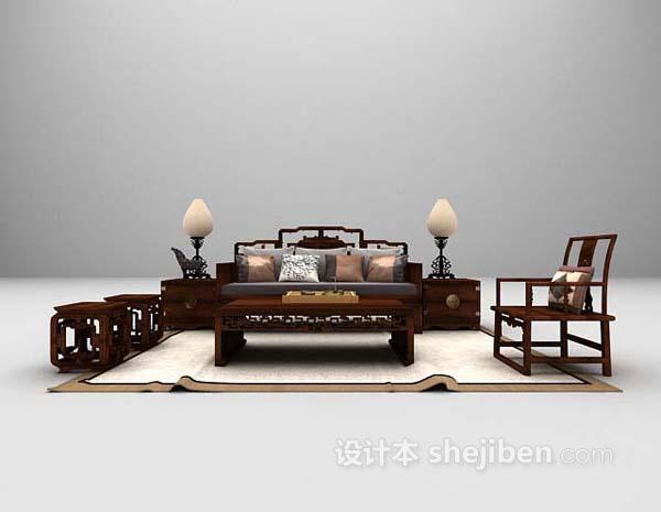 中式组合沙发3d模型下载