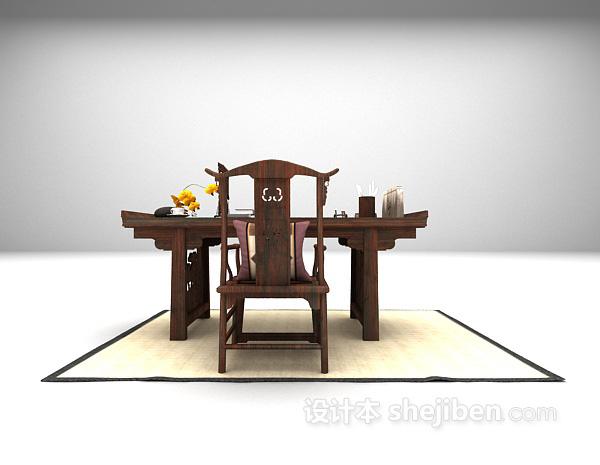 中式书桌3d模型免费下载